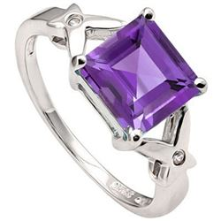 Princess Cut Amethyst Ring in Sterling Silver