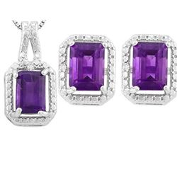 Amethyst 3ctw Earrings and Pendant Set in Sterling Silver