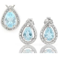 Baby Swiss Blue Topaz 1.8CTW Pendant and Earring Set in Sterling Silver