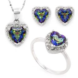 Heart Cut Ocean Mystic Topaz and Diamond Ring Earring and Necklace Set in Sterling Silver