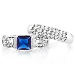 Large Lab Blue and White Sapphire 2 Ring SET in Sterling Silver