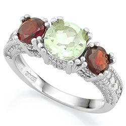 Garnet and Green Amethyst 3 Stone Ring in Sterling Silver