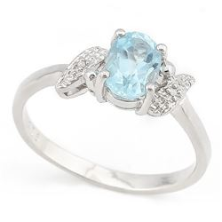 Oval 1.1CT Sky Blue Topaz and Diamond Ring in Sterling Silver
