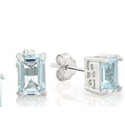 2.5CTW Sky Blue Topaz Emerald Cut Earring and Pendant SET in Sterling Silver