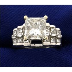 Over 4ct TW Certified Princess Cut Diamond Engagement Ring in Platinum