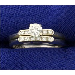 Over 1/3ct TW Diamond Wedding Ring Set in 14K White Gold