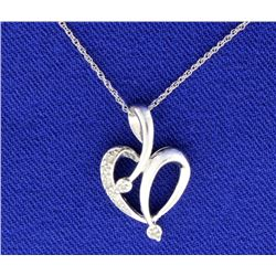 Diamond Heart Pendant On White Gold Chain
