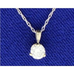 .3 ct Solitaire Diamond Pendant with 14k White Gold Chain