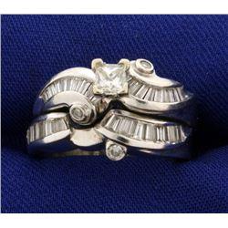 1.5 ct TW Diamond Engagement Ring and Wedding Band Set