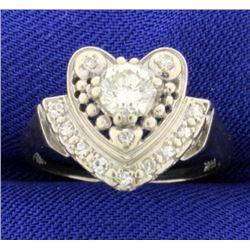 Vintage Diamond Heart Ring