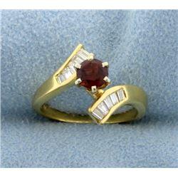 18K Pyrope Garnet and 1/2ct Total Weight Diamond Ring
