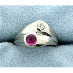18K Vintage Diamond and Ruby Ring
