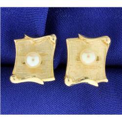 Pearl & 14K Gold Cufflinks