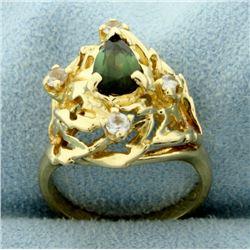 Antique Tourmaline & White Sapphire Ring