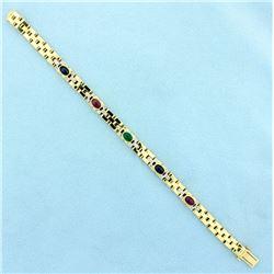 Ruby, Sapphire, Emerald, and Diamond Cabochon Bracelet