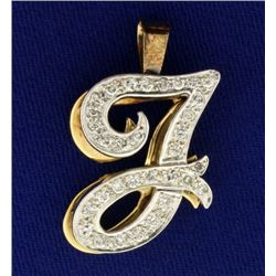 "Initial ""J"" 1/2 ct TW Diamond Pendant"