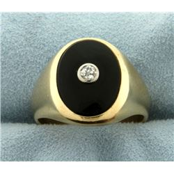 Antique Men's Diamond and Onyx Ring
