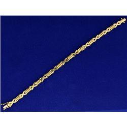 "Italian Made 7 Inch ""X"" Link Designer Bracelet in Yellow Gold"