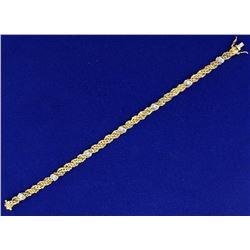 Italian Made Intricate Woven S Link Diamond Bracelet