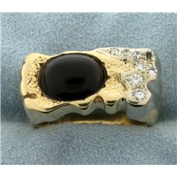 Large Cabochon Onyx and Diamond Ring