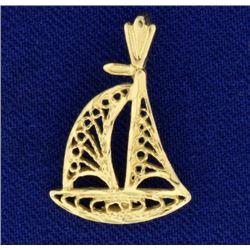 14k Gold Sailboat Pendant