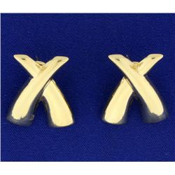 X Style Large Gold Earrings