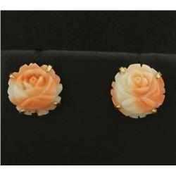 Pink Coral Flower Design Earrings in 14k Gold