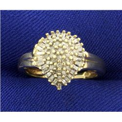 Over 1/2ct TW Pear Shaped Round and Baguette Diamond Ring