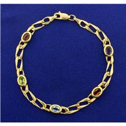 Multi Colored Gemstone Bracelet in 14k Gold