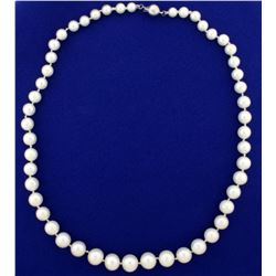 Vintage Graduated Natural Akoya Pearl Necklace with 18k White Gold Clasp