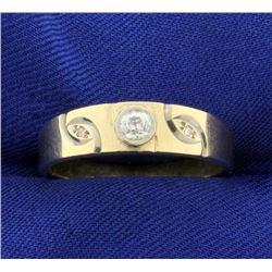 Antique Men's Old European Cut Diamond Band Ring