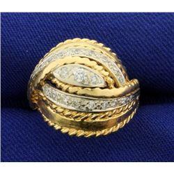 Custom Designed Unique Wrap Around Design Diamond Ring