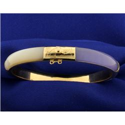 Lavender and White Jade Bangle Bracelet in 14k Gold