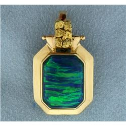 Natural Black Opal Pendant in 14k Gold