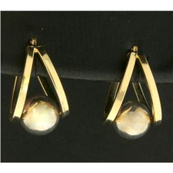 Half Hoop Designer Earrings with Suspended Sphere in 14k Gold