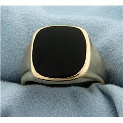 Men's Heavy Onyx Ring in 14k Yellow Gold