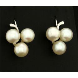 3 Pearl Clover Style Earrings for Non Pierced Ears in 14k White Gold
