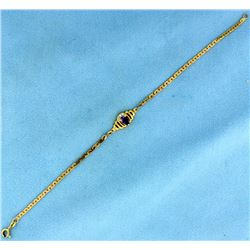 Amethyst and Diamond Italian Made Bracelet in 14k Gold