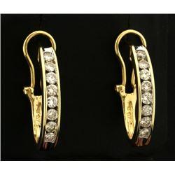1ct TW Diamond Half Hoop Earrings in 14k Gold