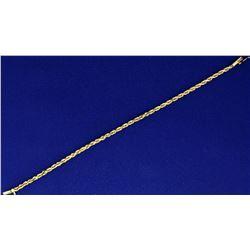 7 1/4 Inch Rope Style Bracelet in 14k Gold