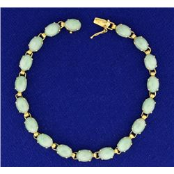 Natural Jade Bracelet in 14k Gold