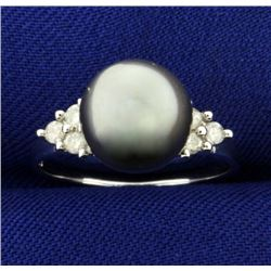 Tahitian Pearl and Diamond Ring in 14k White Gold