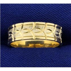 Unique Pattern 14k Gold Wedding Band Ring