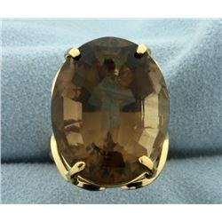 Huge 40ct Smokey Topaz Statement Ring in 18k Gold