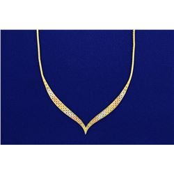 Italian Made Rose, Yellow, and White 14k Gold Necklace