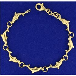 Dolphin Bracelet in 14k Gold