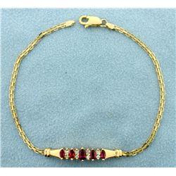 Ruby and Diamond Bracelet in 14k Gold