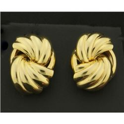 Unique Pattern Gold Drop Earrings in 14k Gold