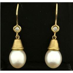 Pearl and Diamond Dangle Drop Earrings in 14k Gold