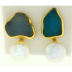 Signed Betsy Fuller Designer 18k Gold and Pearl Modernist Style Clip on Earrings